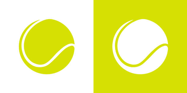 Green color tennis ball graphic vector art illustration