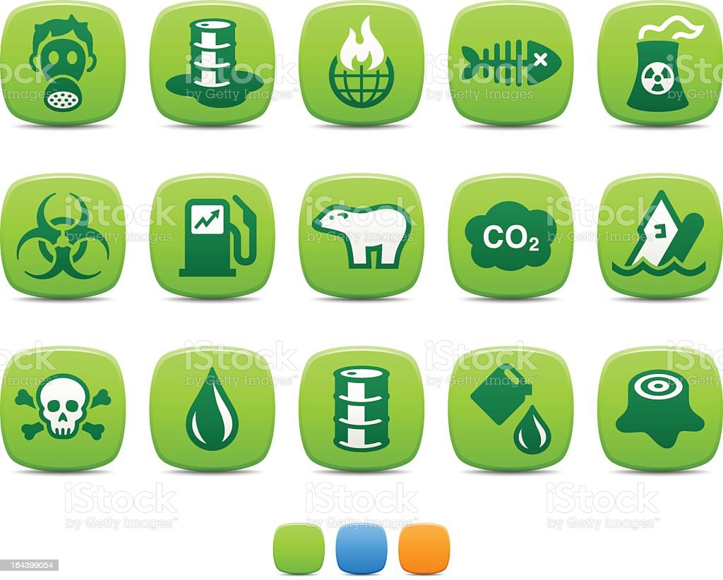 15 green colored pollution icons royalty-free stock vector art