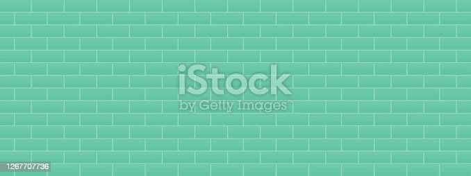 istock Green colorful brick wall abstract background texture wallpaper interior vector illustration art graphic design vintage 1267707736