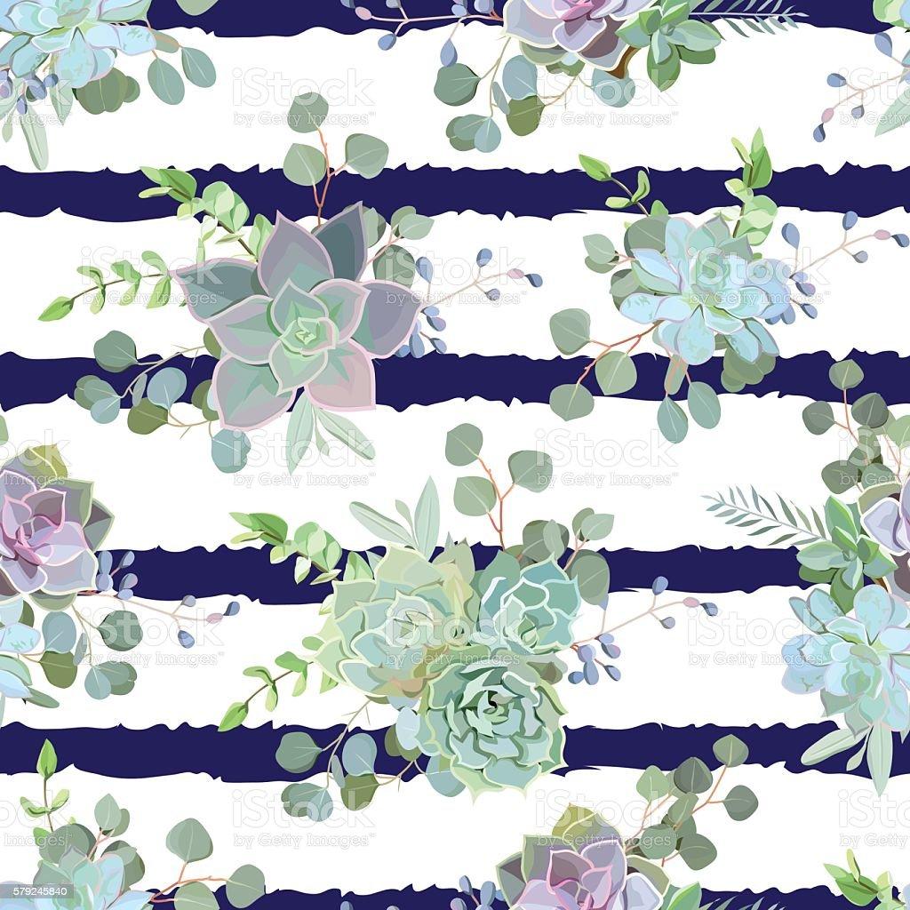 Green colorful succulent Echeveria seamless vector design print - ilustración de arte vectorial