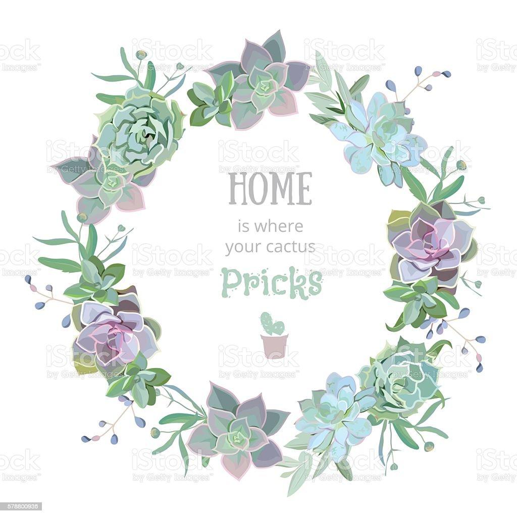 Green colorful succulent Echeveria vector design round frame - ilustración de arte vectorial