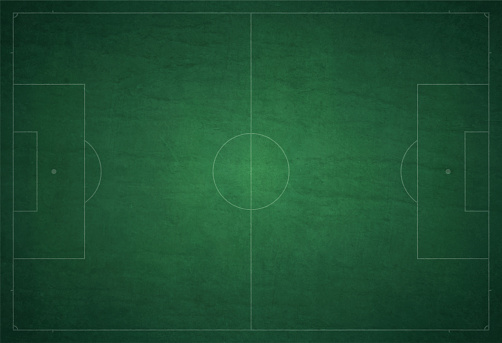 Green coloured gradient and grunge textured soccer ground / field vector background with white color markings