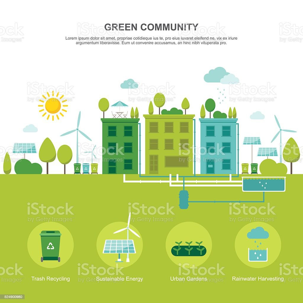 Green Community Sustainable Environment vector art illustration
