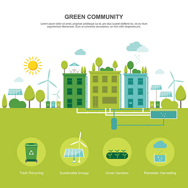 Green Community Sustainable Environment Colorful vector illustration of sustainable environment-friendly community concept in modern flat design. Easy to edit, elements are grouped, no effects. solar panels illustrations stock illustrations