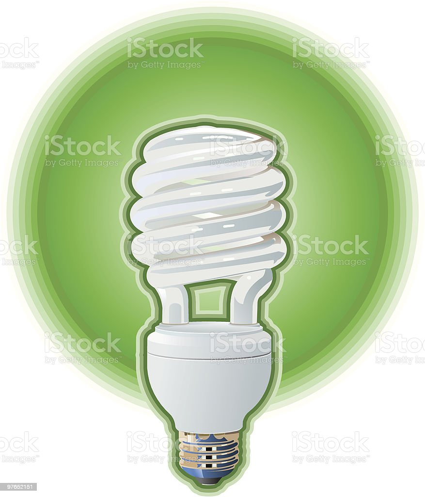 Green Compact Fluorescent Light Bulb royalty-free green compact fluorescent light bulb stock vector art & more images of color image