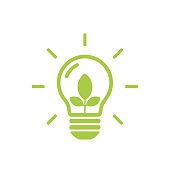 Green contour of shining electric light bulb with three green leaf inside. World Environment Day. Flat outline icon.Eco friendly. Vector illustration isolated on white