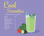 Green cool smoothie of kale, cucumber and strawberry with nutrition information. Text outlined free fonts Damion,  Rochester