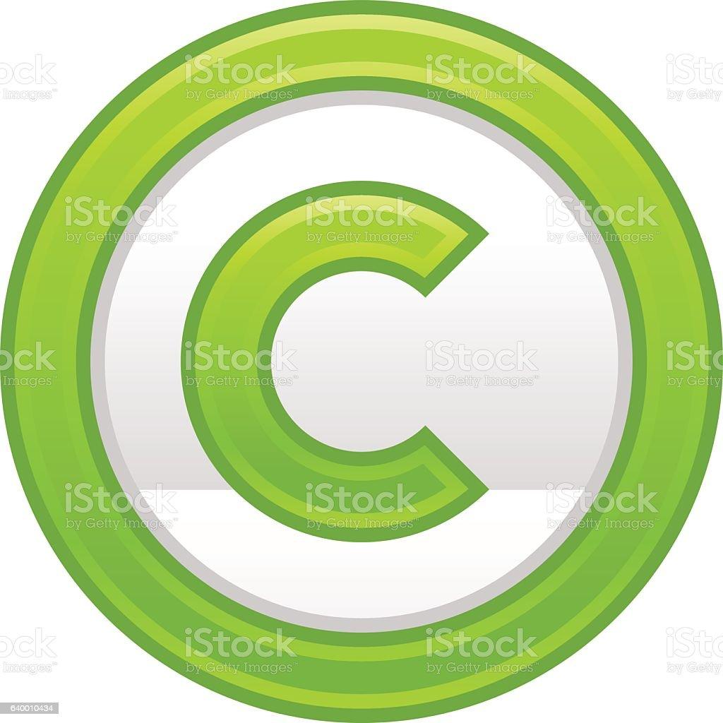 Green Copyright Symbol Sign Matte Icon vector art illustration