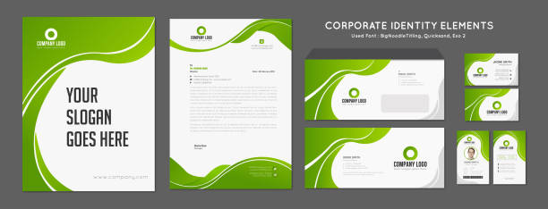 Green Corporate Brand Identity Modern Brand Identity for all kind of business. This Elegant Brand Identity will help you to promote your business. In this package you will get 5 essential items which is easy to edit, modify and customize. letterhead stock illustrations