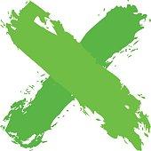Green crisscross brushstroke delete sign