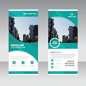 Green curve polygon astract triangle Business Roll Up Banner flat