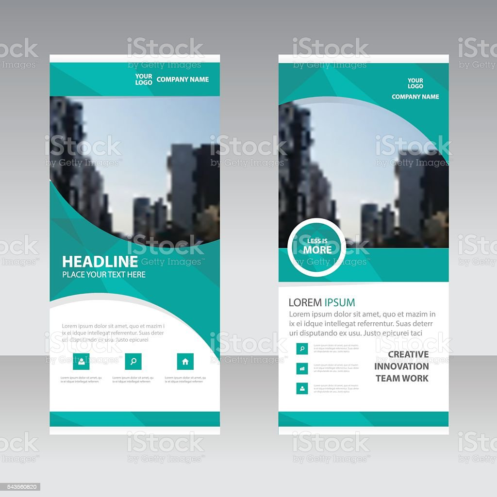 Green curve polygon astract triangle Business Roll Up Banner flat vector art illustration
