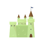 Green cute brick castle of elf land of knights tower king. Flat style. Vector illustration on white background