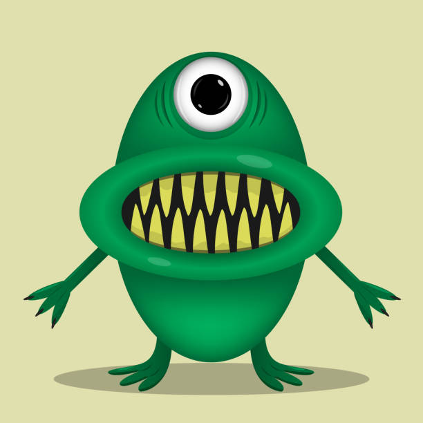 green cute monster - pig ugly stock-grafiken, -clipart, -cartoons und -symbole