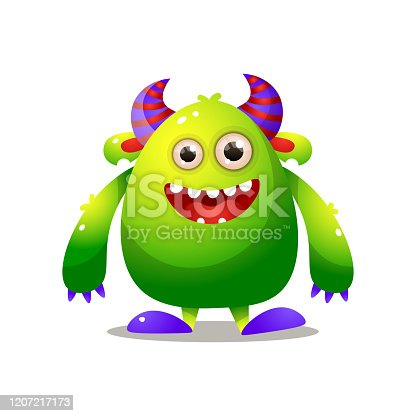 istock Green cute monster with violet horn and big hands 1207217173