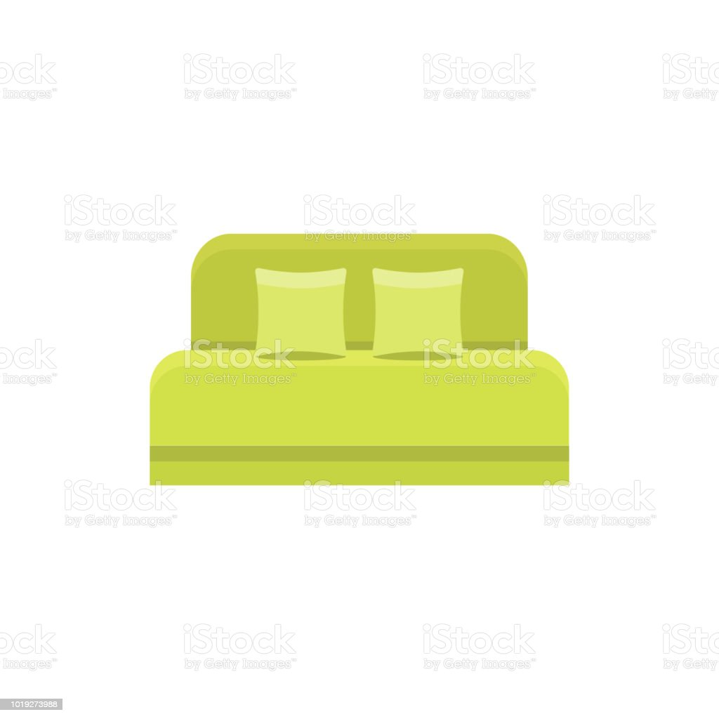 Nice Green Daybed With 2 Pillows And Headboard. Comfortable Sofa. Vector  Illustration. Flat Icon
