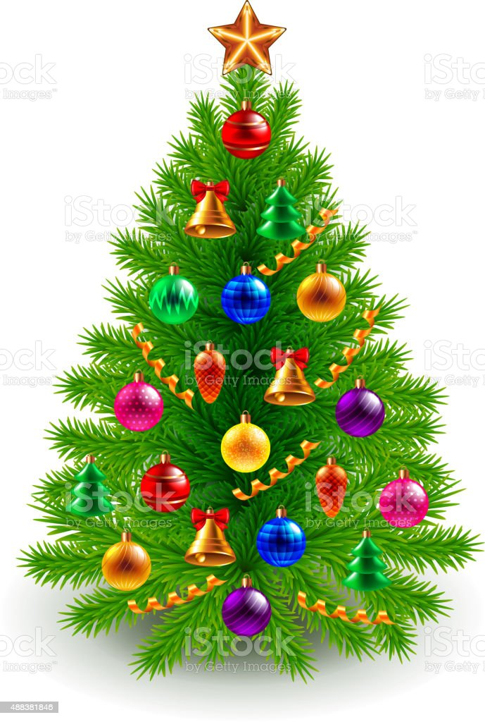 Green decorated Christmas tree isolated on white vector art illustration