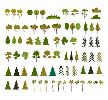 Green decorative tree isolated set. Vector flat graphic design cartoon illustration