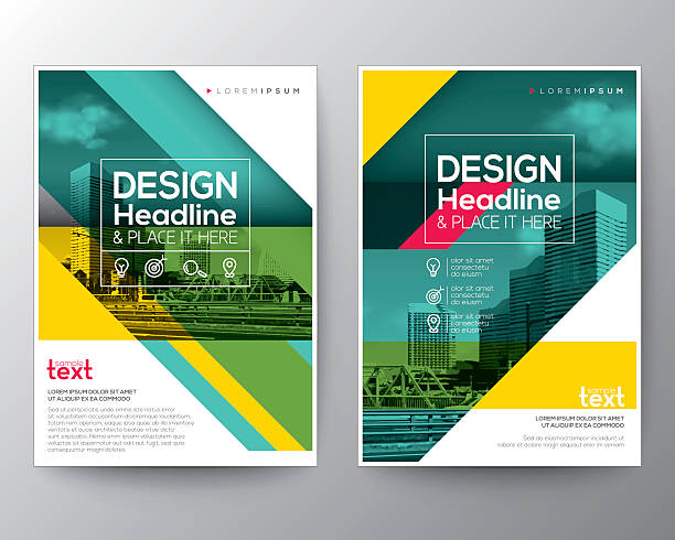Green diagonal line Brochure annual report cover Flyer Poster design vector art illustration
