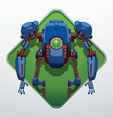 Green diamond-shaped frame, funny blue robot