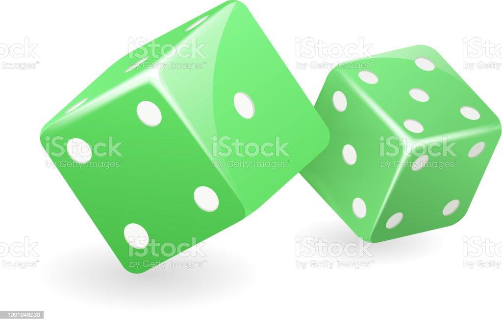 Yeşil zar 3d gerçekçi casino kumar oyunu hazırladılar izole simge vektör çizim vektör sanat illüstrasyonu