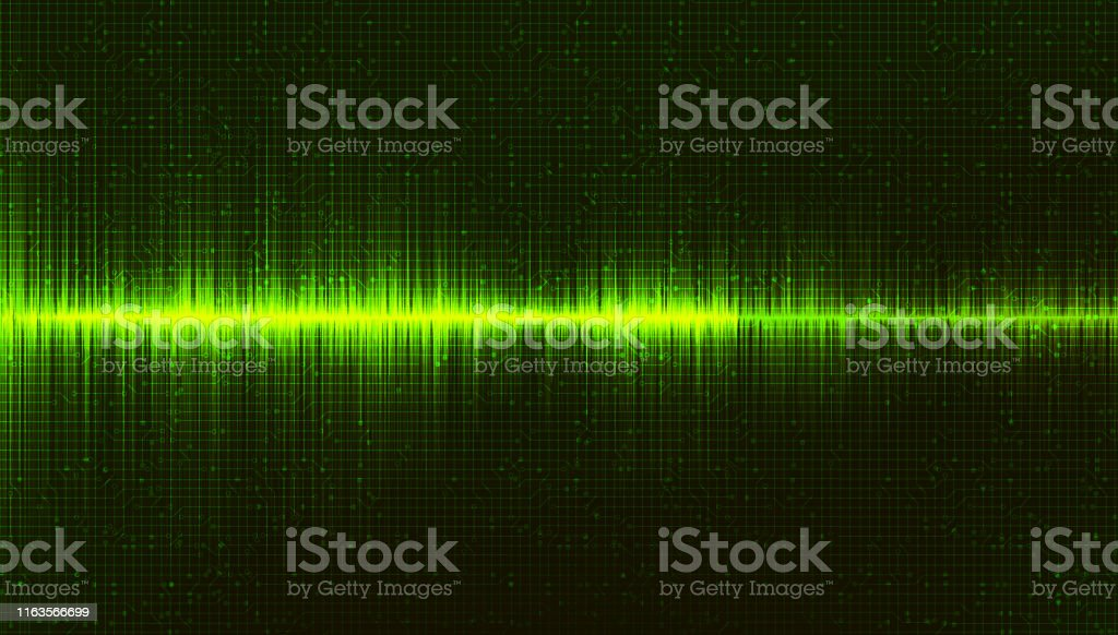 Green Digital Sound Wave Background,Music and Hi-tech diagram...