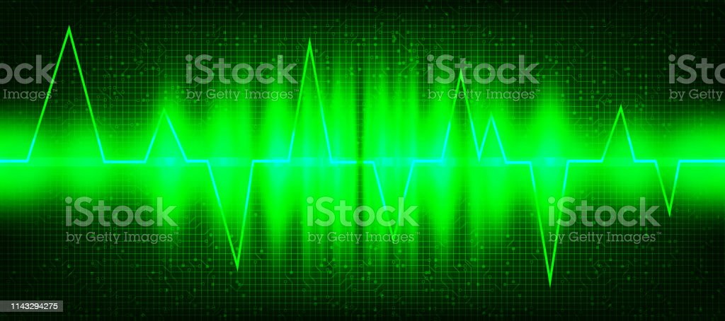 Green Digital Sound Wave or Heart wave Background,technology and...