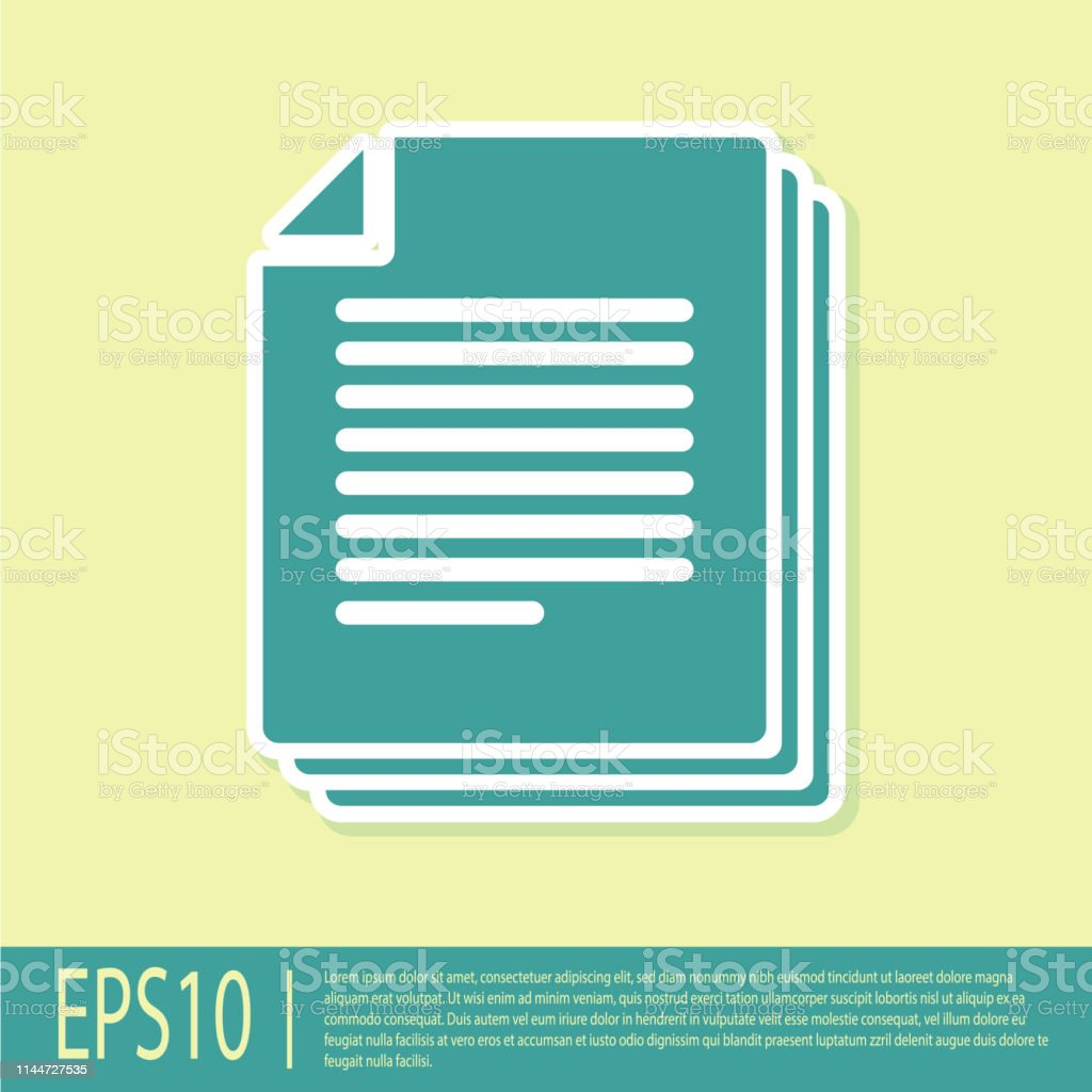 Green Document icon isolated on yellow background. File icon....