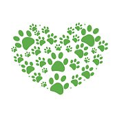 Green dog paw print made of heart illustration background
