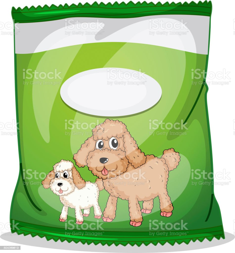 Green dogfood pouch with an empty label royalty-free stock vector art