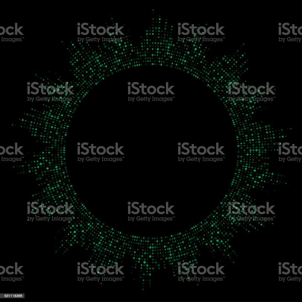 yeşil noktalı yuvarlak ekolayzer siyah arka plan üzerine izole - Royalty-free Albüm - Analog Ses Vector Art