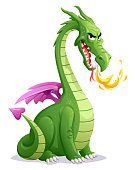 Vector illustration of a laughing green dragon with a long neck breathing fire and looking at the camera. Concept for fantasy creatures, fairy tales and dragons.