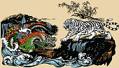 Green Chinese East Asian dragon versus White tiger in the landscape with waterfall,rocks and water waves  . Two spiritual creatures in Classical Feng Shui representing Yin Yang. Graphic style vector illustration