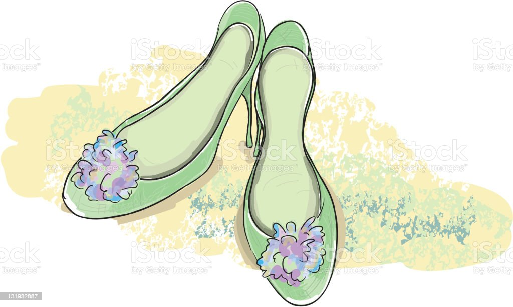 Green dress shoes with decorative flowers vector art illustration