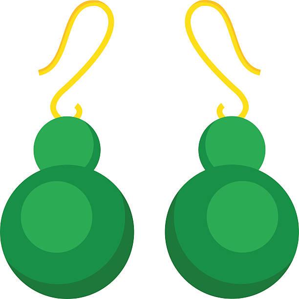grün ohrringe wunderschönes accessoire isoliert - glasohrringe stock-grafiken, -clipart, -cartoons und -symbole