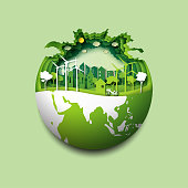 Green earth of eco friendly city and urban forest landscape abstract background.Renewable energy for ecology and environment conservation concept paper art design.Vector illustration.