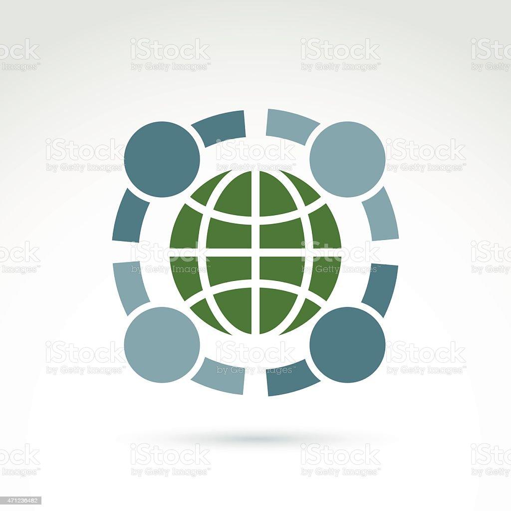 Green earth and mankind symbolic icon, vector conceptual symbol vector art illustration