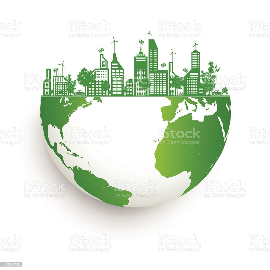 Green earth with city energy save vector art illustration
