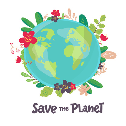 green Earth with flowers. Concept for save earth day. Abstract vector illustration background. hand drawing. Save the Planet Lettering. Hand drawing