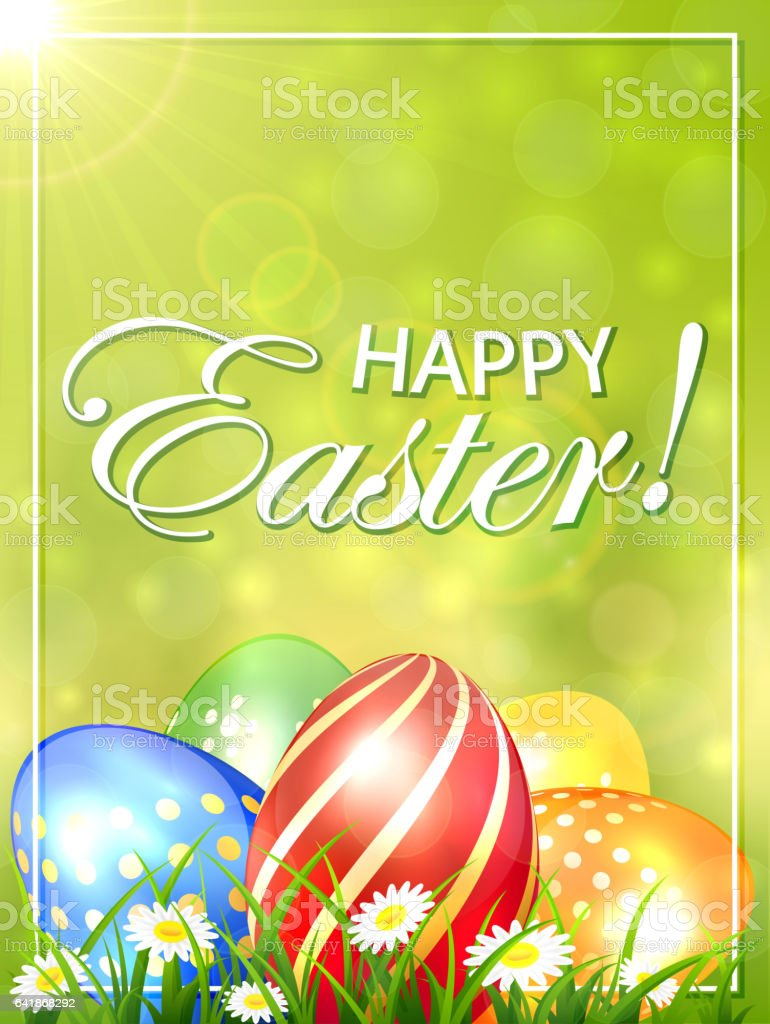 Green Easter background with colored eggs vector art illustration