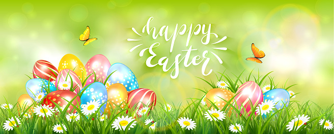 Green Easter Background with Colorful Eggs