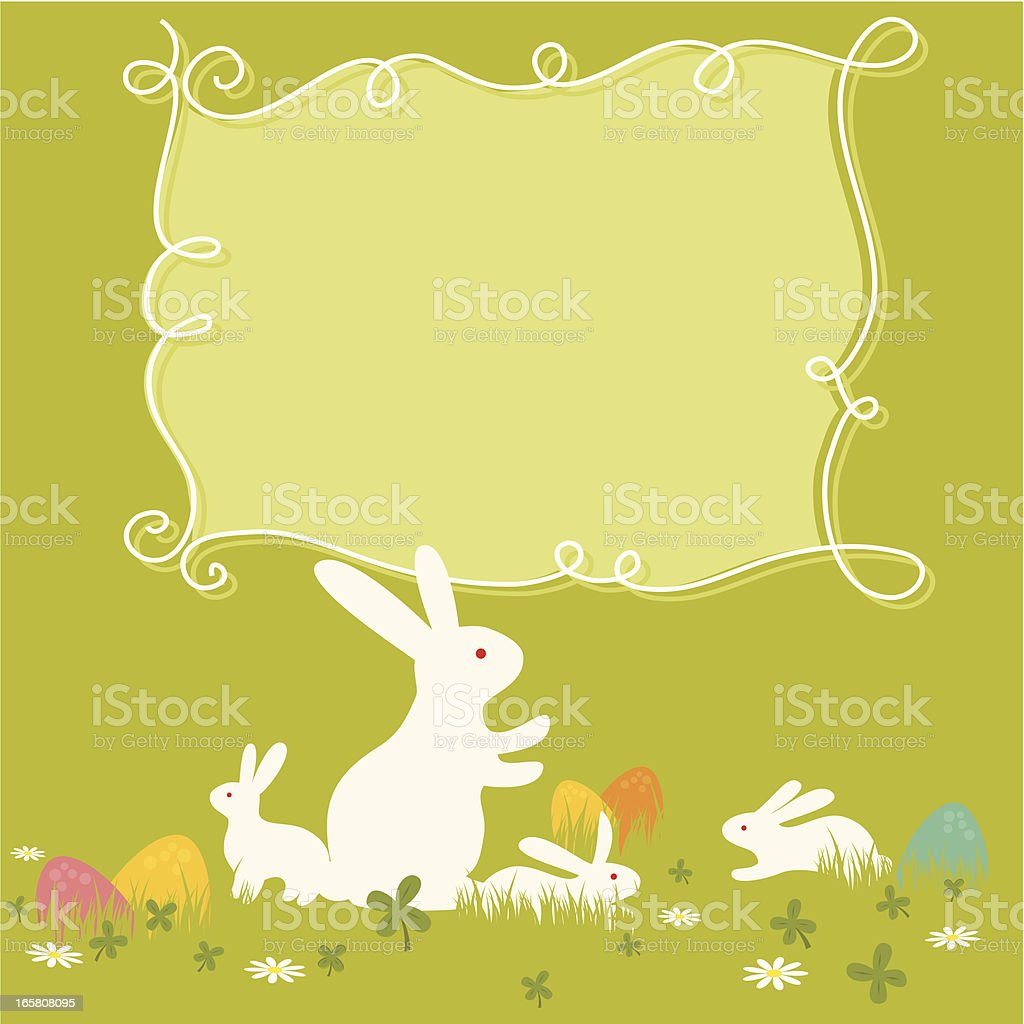 Green Easter bunny and egg template with blank text box royalty-free stock vector art