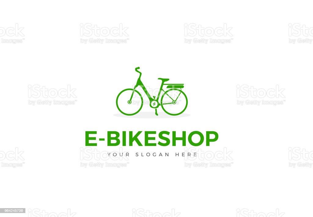 Green E-Bike symbol Silhouette Woman Bike Vector