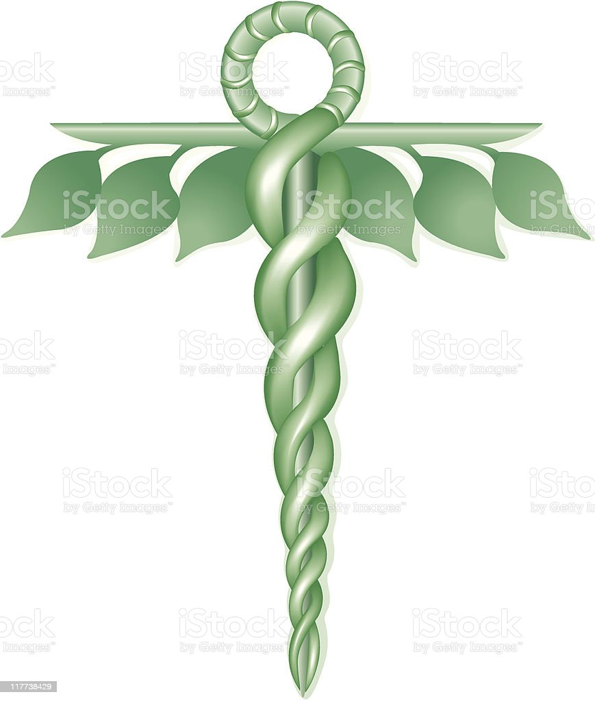 Green Eco Caduceus royalty-free stock vector art
