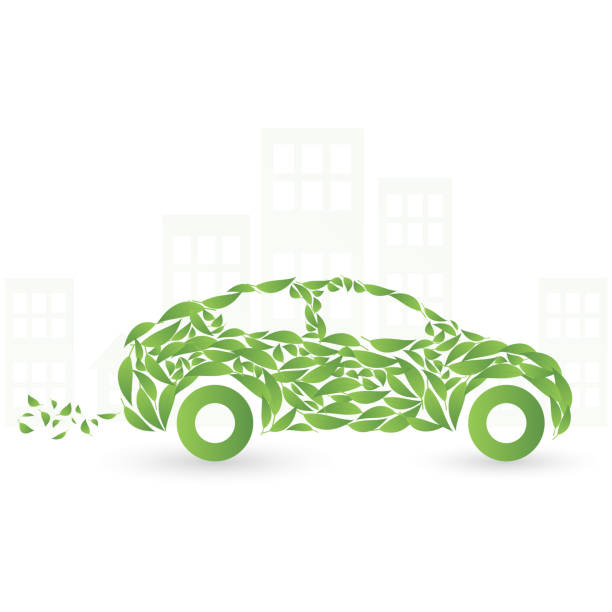 Green eco car concept made up of green leaves Green eco car concept made up of green leaves, Vector illustration alternative fuel vehicle stock illustrations