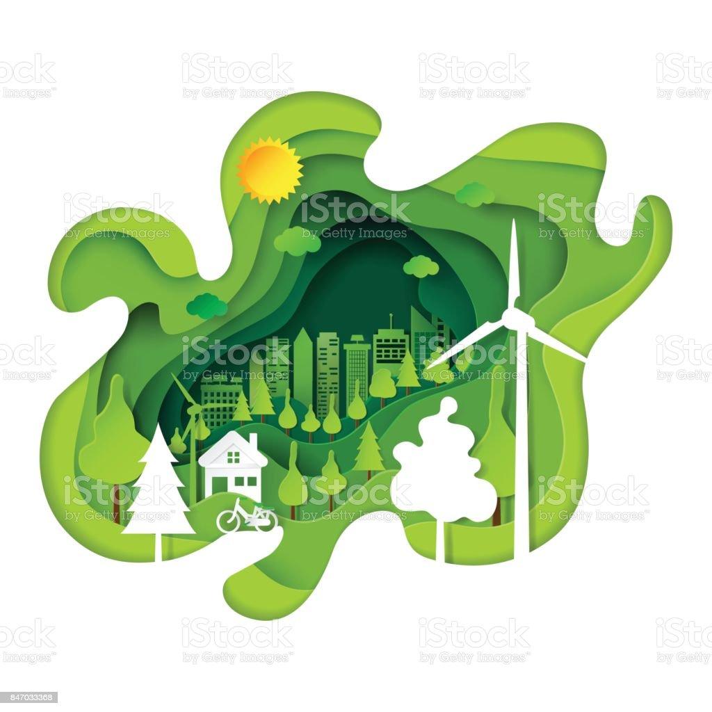 Eco verde cidade papel abstrato arte base - ilustração de arte em vetor