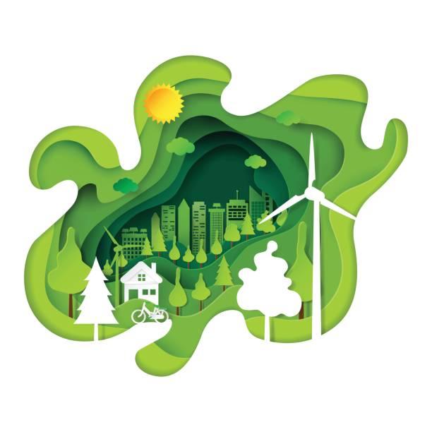 grüne, umweltfreundliche stadt abstrakte kunst papierhintergrund - umweltkonzept stock-grafiken, -clipart, -cartoons und -symbole