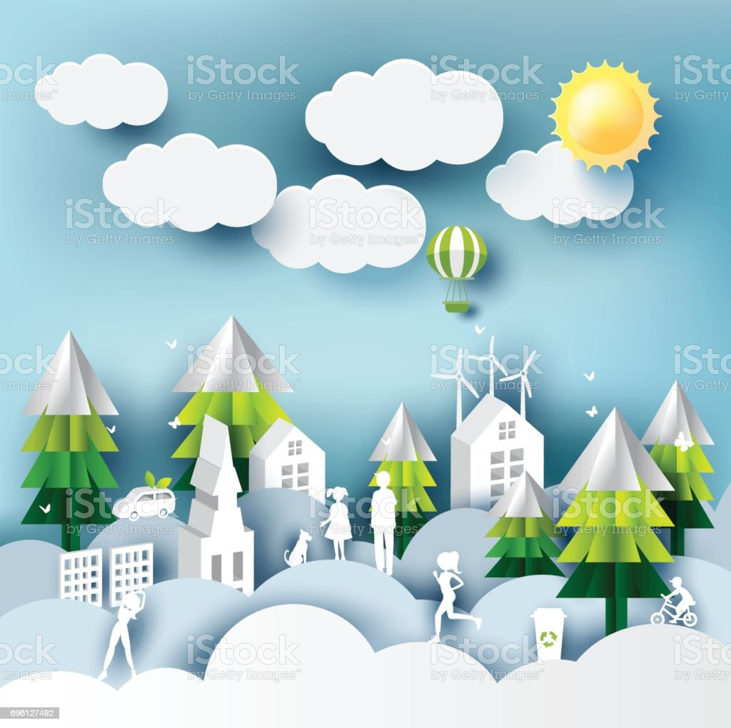 Green Eco City And Life Paper Art Style Urban Landscape And