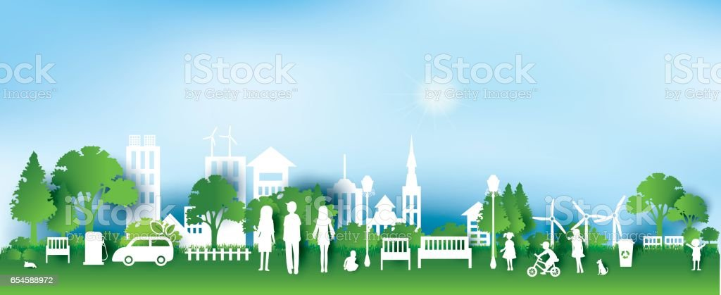 Green eco city and life paper art style, urban landscape vector art illustration
