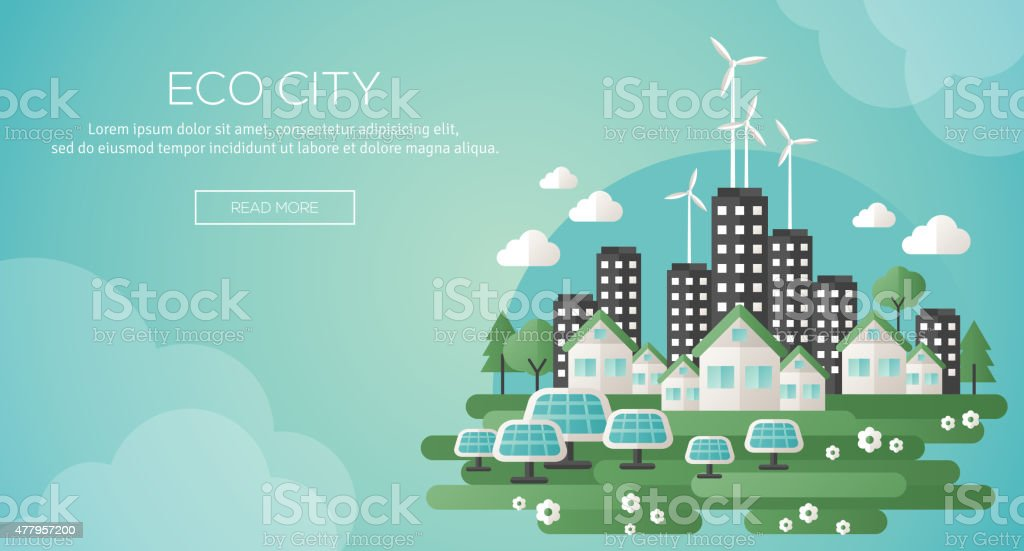 Green eco city and sustainable architecture banner. vector art illustration